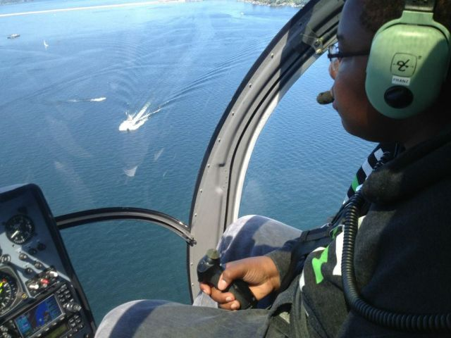 Future Aviators 2012 - Heilcopter Lesson Winner - Alex flying over Mercer Island, Bellevue, Lake Washington and Seattle