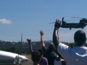 Future Aviators 2013 Fly by in Military Chinook Helicopter